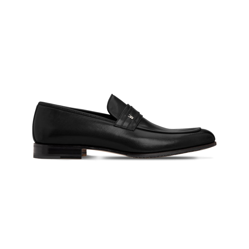 Black buffalo leather loafer Luxury italian shoes