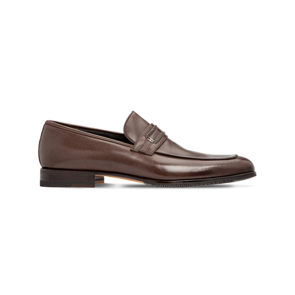 Dark brown buffalo leather loafer Luxury italian shoes