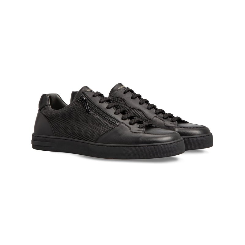 Sneaker in pelle di vitello nero