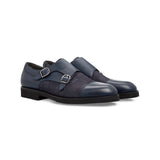 Blue calfskin double buckle Moreschi handmade italian shoes