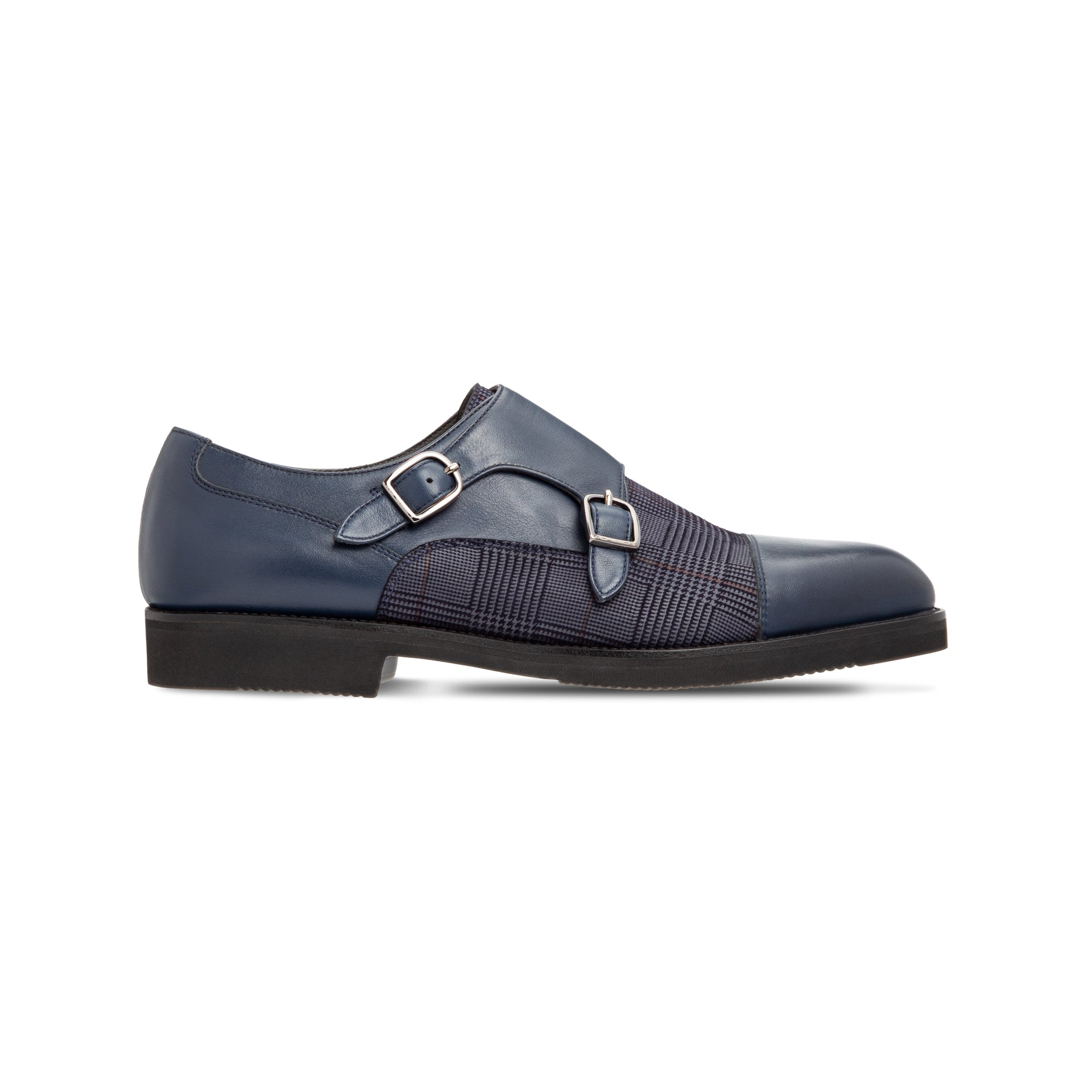 Blue calfskin double buckle shoes