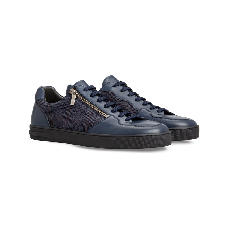 Dark blue calfskin sneakers  Moreschi handmade italian shoes