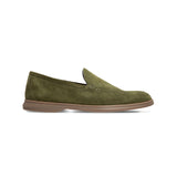 Dark green suede loafer shoes