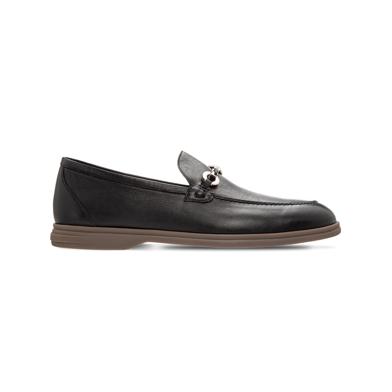 Black deerskin loafer shoes