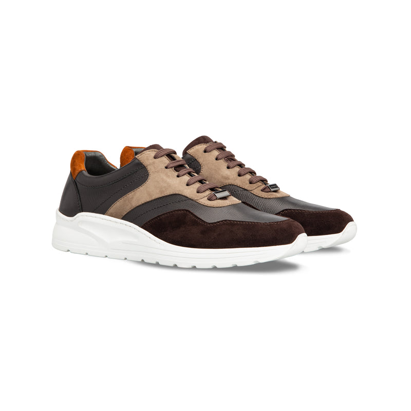 Brown and multicolor calfskin sneakers Moreschi handmade italian shoes