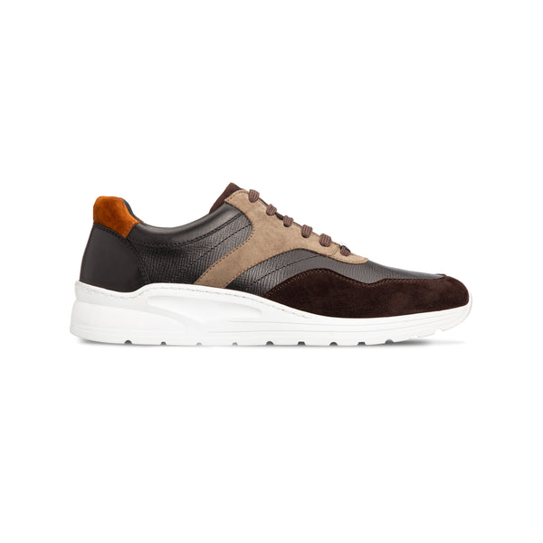 Brown and multicolor calfskin sneakers Luxury italian shoes