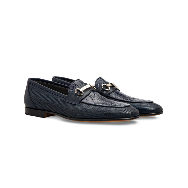 Dark blue calfskin and fine leather loafer shoes