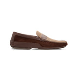 Moreschi Brown and taupe leather driver Luxury italian shoes