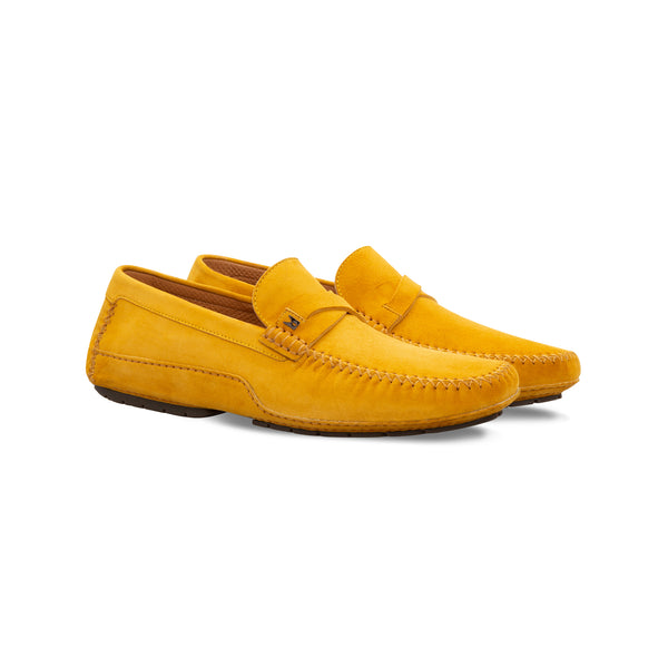 Yellow suede driver Moreschi Luxury italian shoes