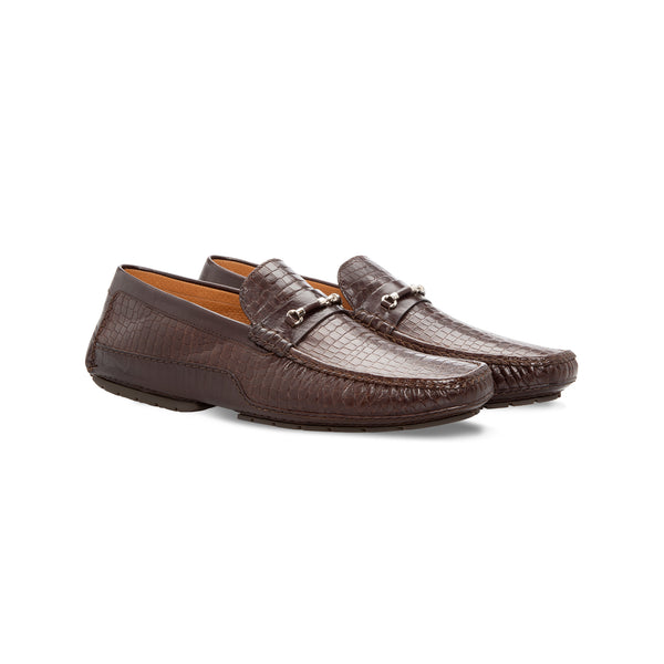 Moreschi Dark brown printed leather driver Handmade italian shoes