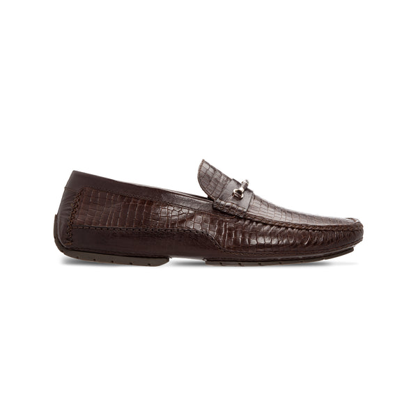 Dark brown printed leather driver Moreschi Luxury italian shoes