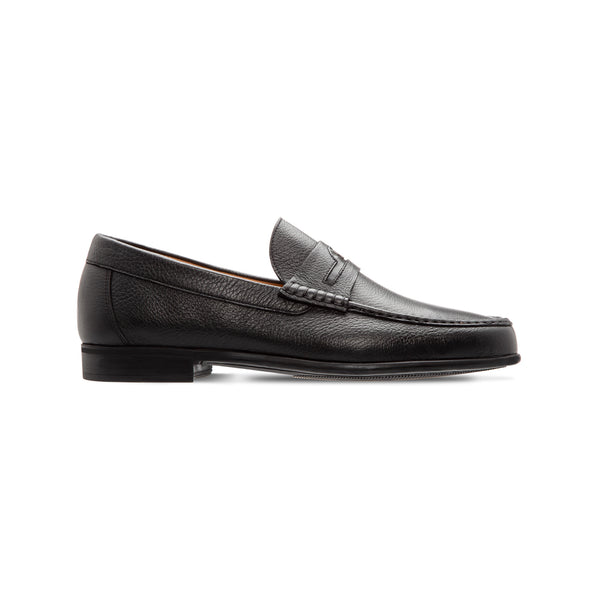 Black deerskin loafer