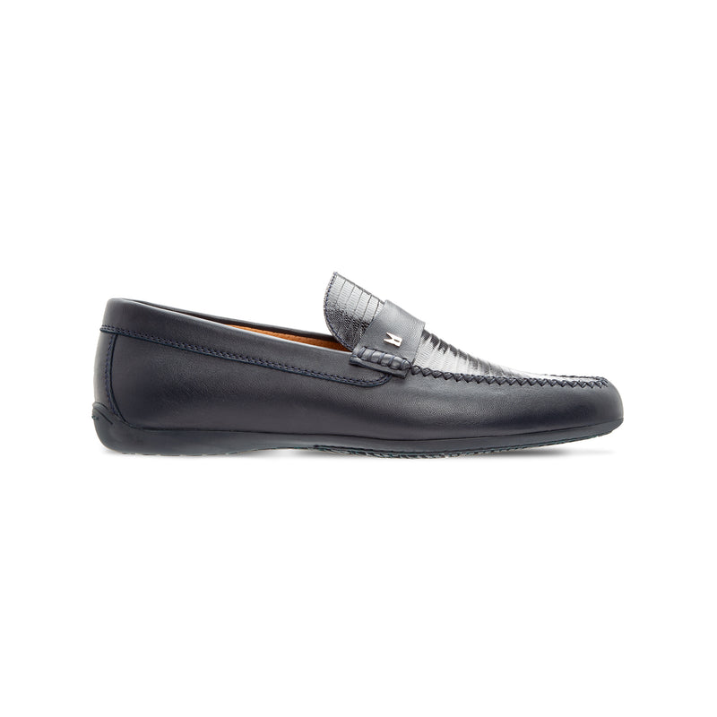Moreschi dark blue fine leather loafer Luxury italian shoes