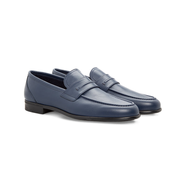 Moreschi blue calfskin loafer Handmade italian shoes