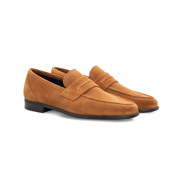 Brown suede loafer Moreschi Handmade italian shoes