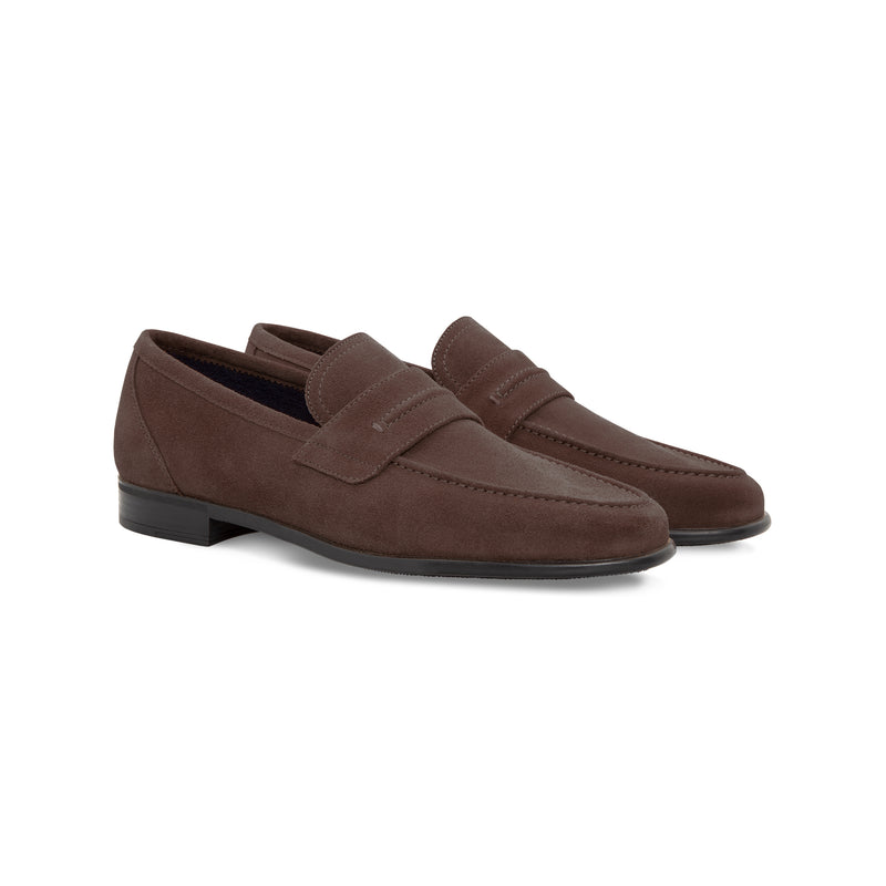 Moreschi Dark brown suede loafer Handmade italian shoes