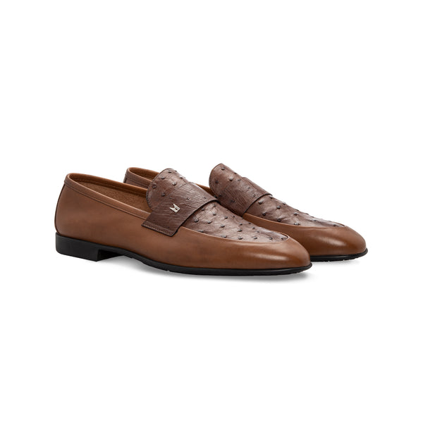 Brown fine leather loafer Moreschi Handmade italian shoes
