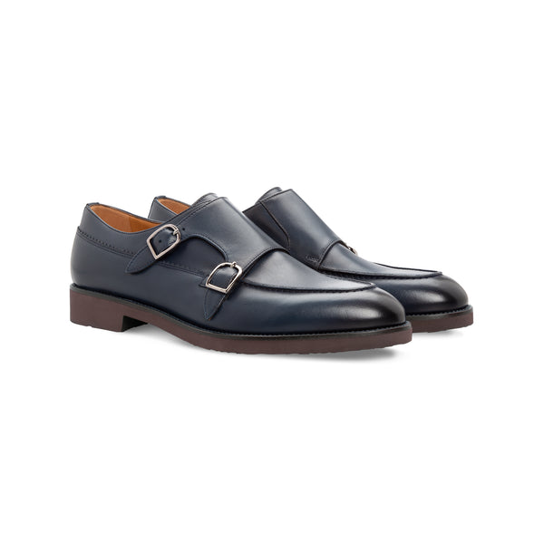 Blue antiqued calfskin monk Moreschi Handmade italian shoes