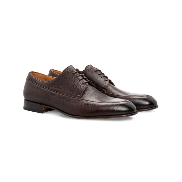 Dark brown calfskin derby Moreschi Handmade italian shoes