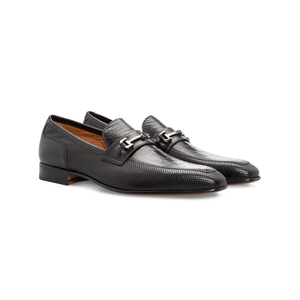 Black fine and perforated leather loafer