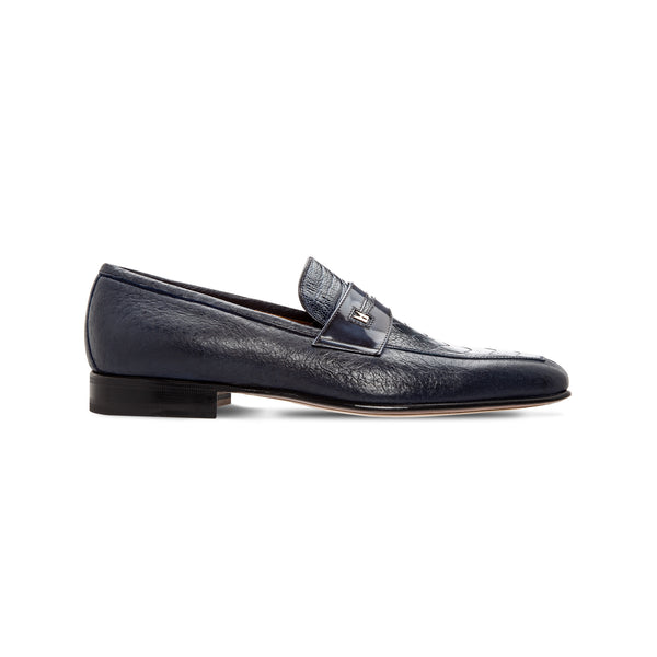 Moreschi Blue two material loafer Luxury italian shoes