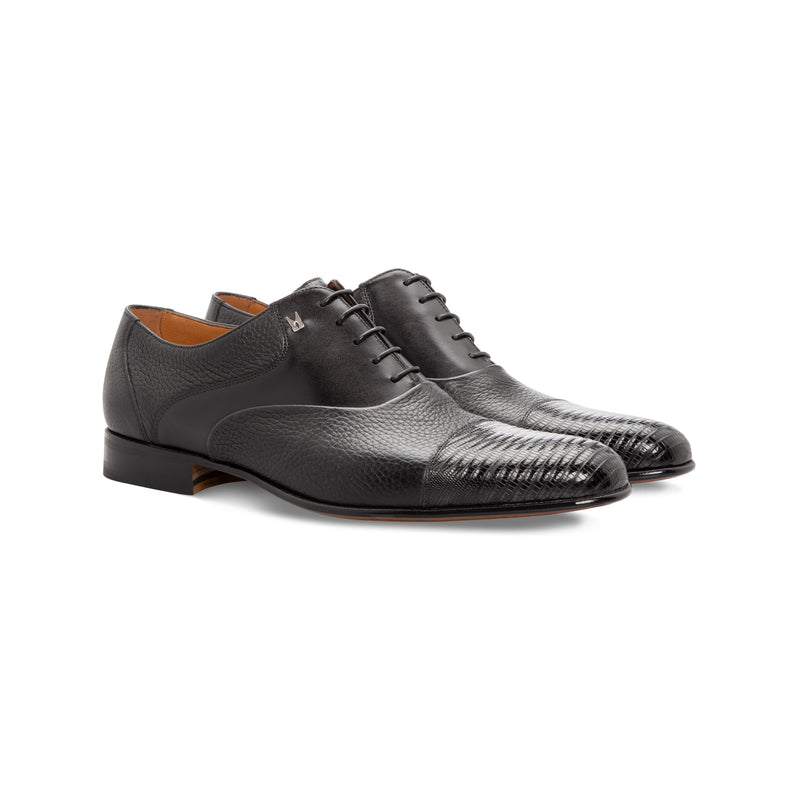 Black multimaterial Oxford shoes