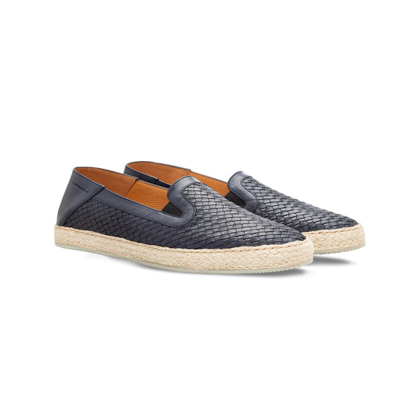 Blue woven leather espadrilles