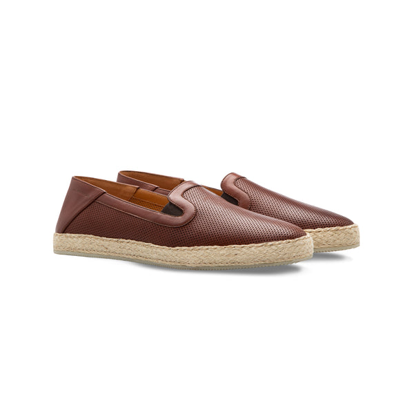 Brown perforated leather espadrille Moreschi Handmade italian shoes