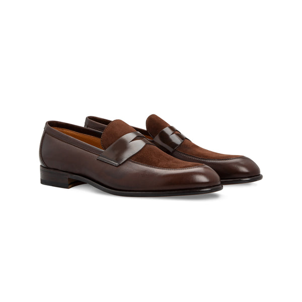Brown bimaterial Loafer