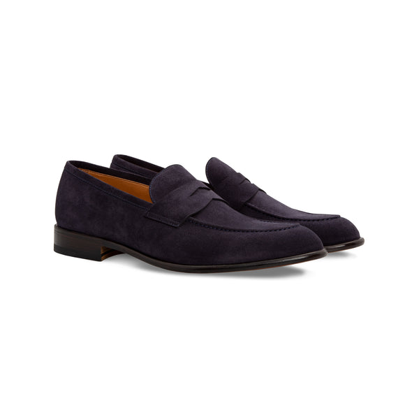 Dark blue suede loafer