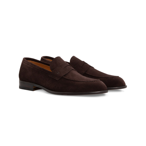 Dark brown suede loafer