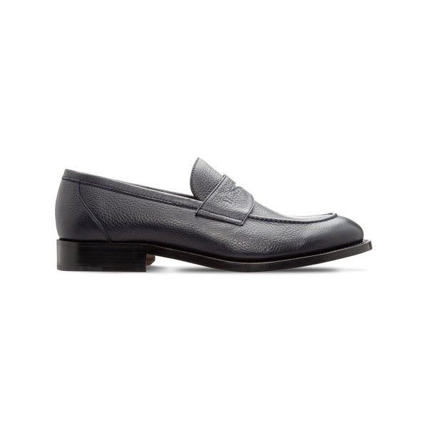 Navy blue deerskin loafer