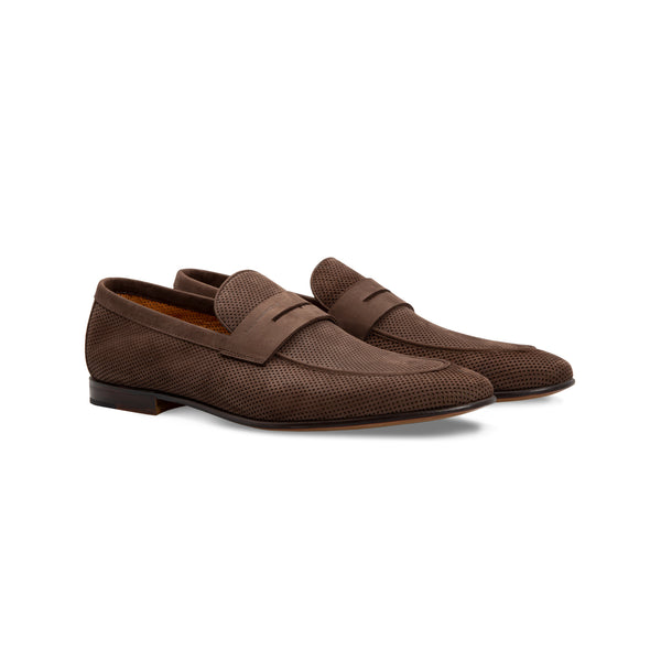 Dark brown Loafer in perforated suede Moreschi Handmade italian shoes