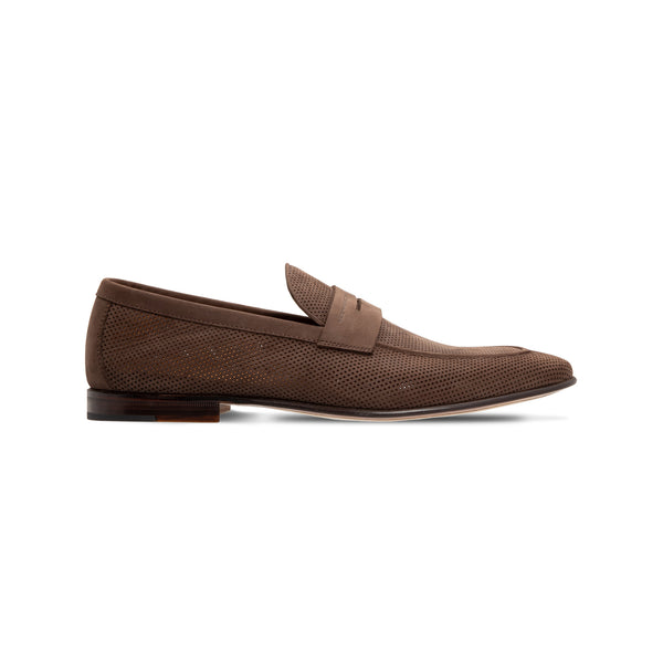 Dark brown Loafer in perforated suede Luxury italian shoes