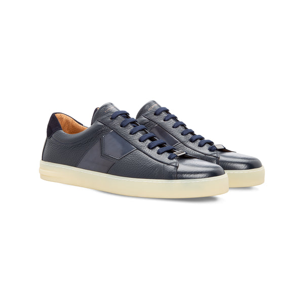 Dark blue two material sneaker Moreschi  Handmade italian shoes