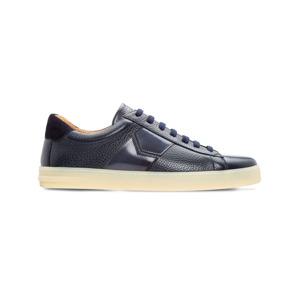 Dark blue two material sneaker Moreschi Luxury italian shoes