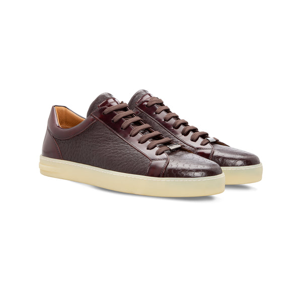 Bordeaux two material sneaker Moreschi Handmade italian shoes