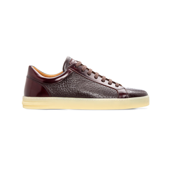 Moreschi Bordeaux two material sneaker Luxury italian shoes