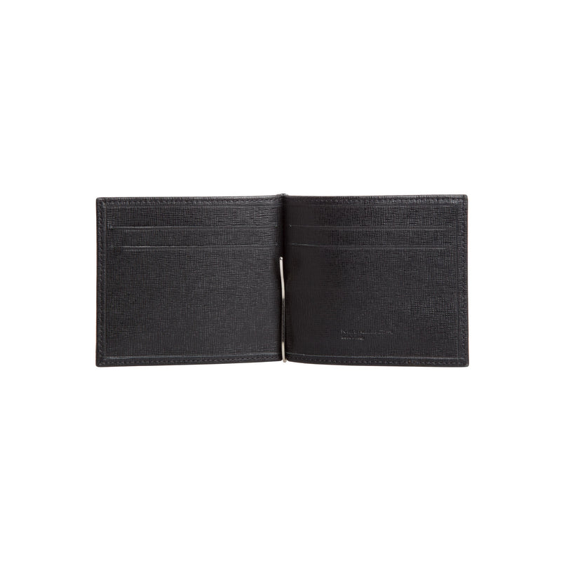 Black printed leather wallet with clip