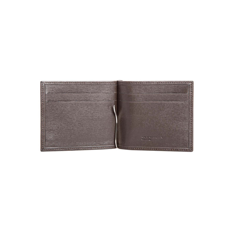 Dark brown printed leather wallet with clip