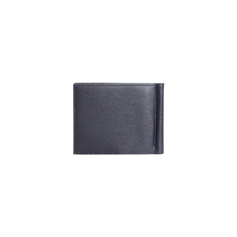 Dark blue printed leather wallet with clip