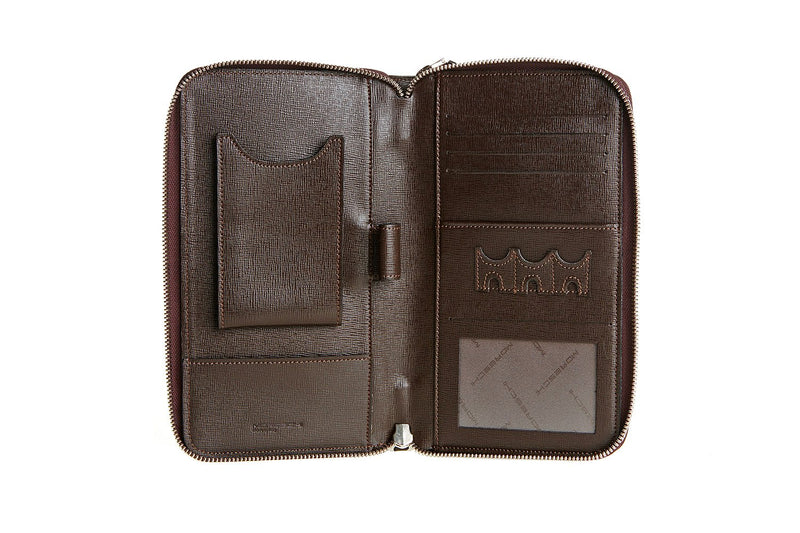 Dark brown printed leather organizer