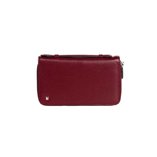Burgundy printed leather organizer