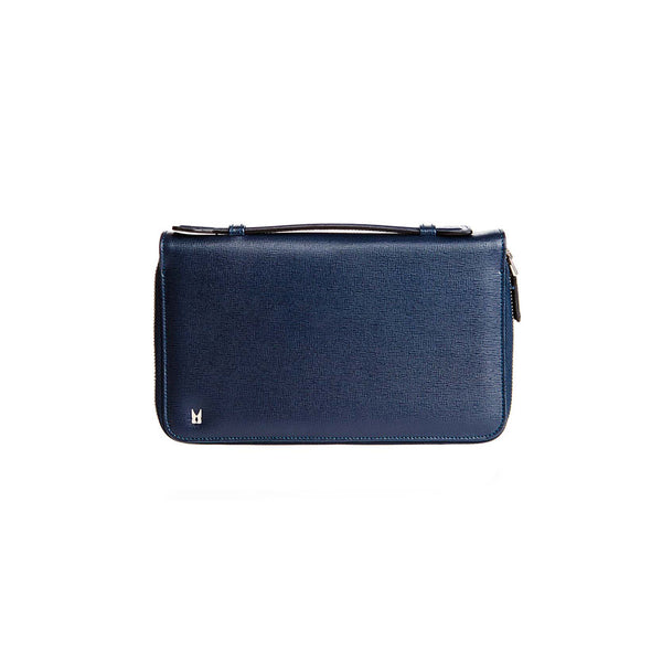 Blue printed leather organizer