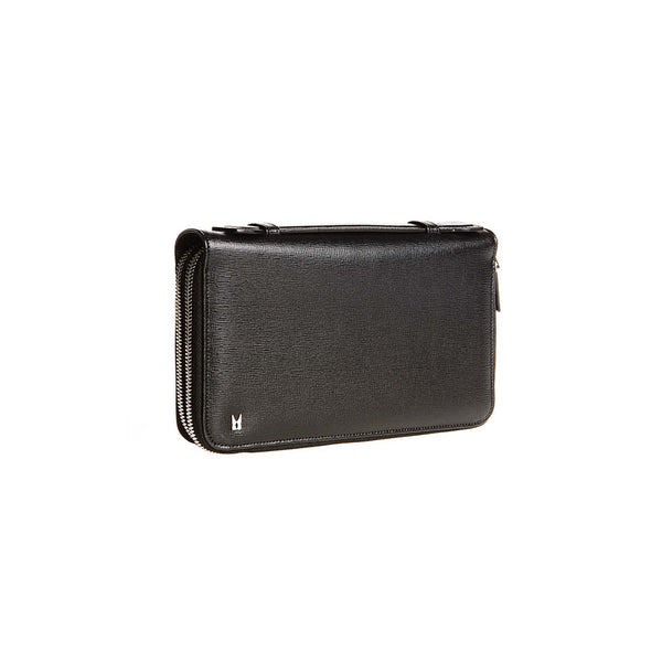 Black printed leather organizer