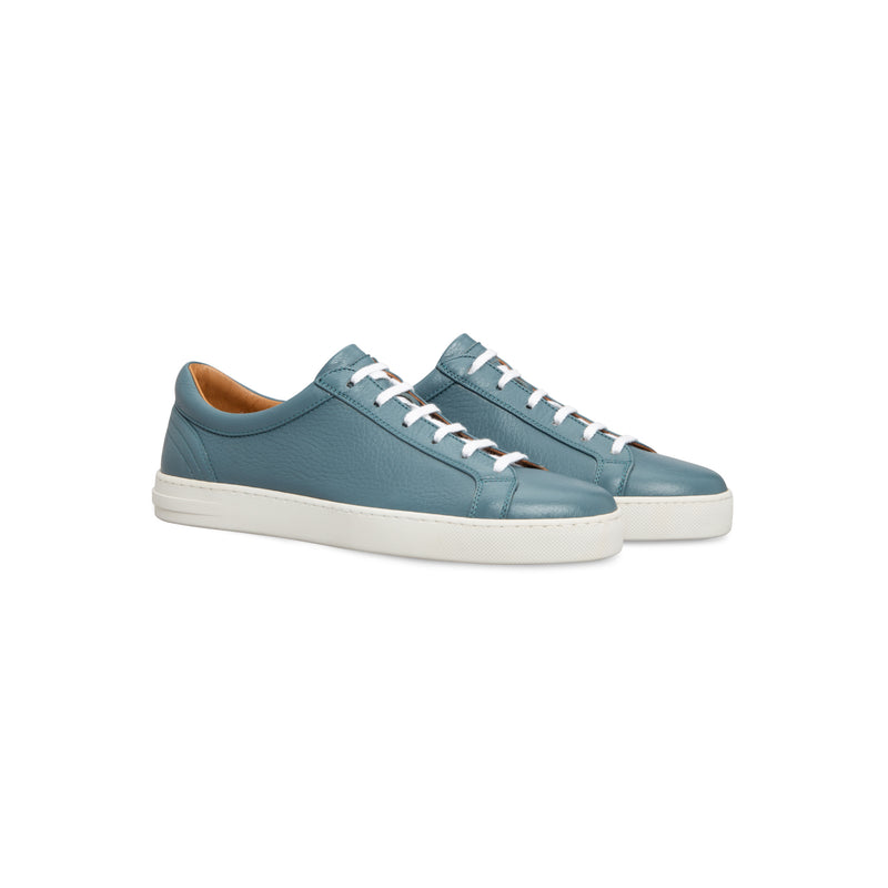 Light blue deerskin sneakers Moreschi handmade italian shoes