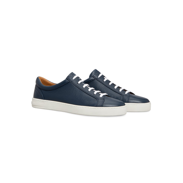 Dark blue deerskin sneakers Moreschi handmade italian shoes