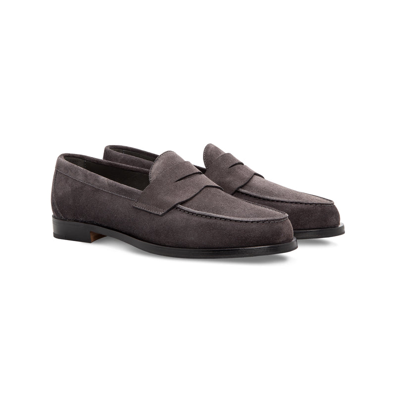Dark grey suede loafer shoes