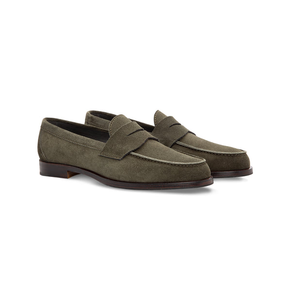 Green suede loafer shoes
