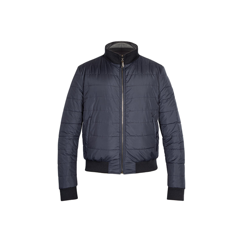 Dark blue reversible Bomber in leather and nylon